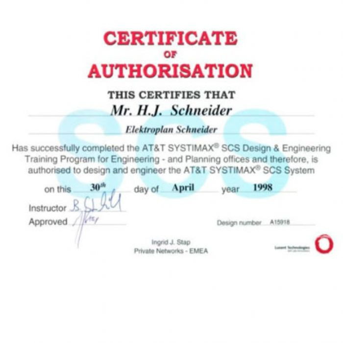 30.04.1998: Certificate of authorisation at AT&T SYSTIMAX SCS Design & Engineering